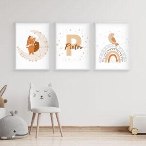 Piccoli Sognatori, Set 3 Stampe Personalizzate con Nome, Stampe per la stanza dei bambini, Nursery Wall Art