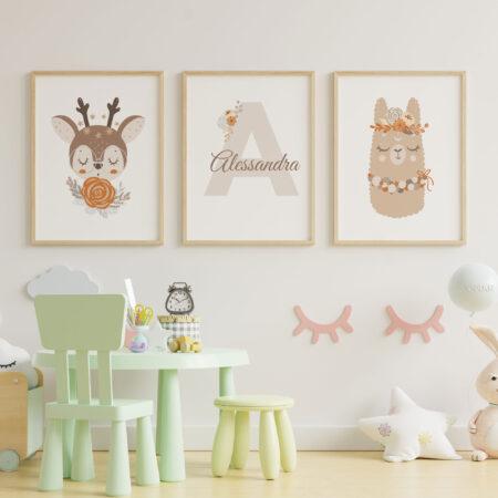 Piccole Sognatrici, Set 3 Stampe Personalizzate con Nome