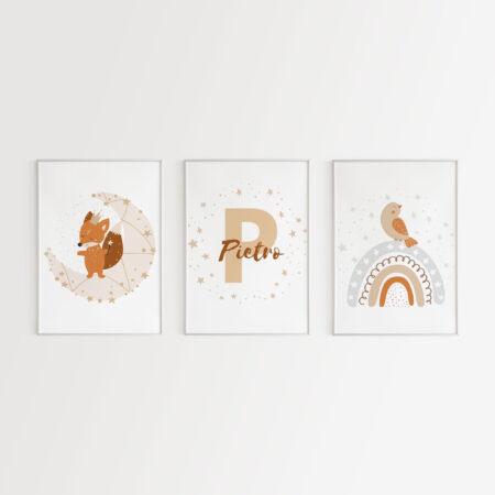 Piccoli Sognatori, Set 3 Stampe Digitali Personalizzate con Nome
