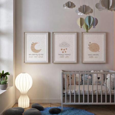 Buonanotte Baby, Set 3 Stampe Nursery Wall Art