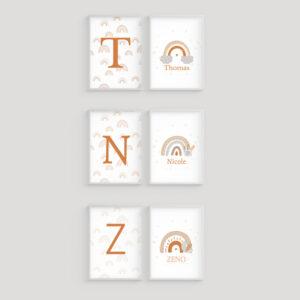 Arcobaleno Duo con Nome Personalizzato, Stampe per cameretta neonato e bambini