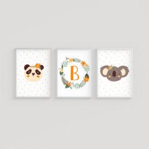 Safari Orange Baby, Set 3 Stampe Personalizzate con Nome