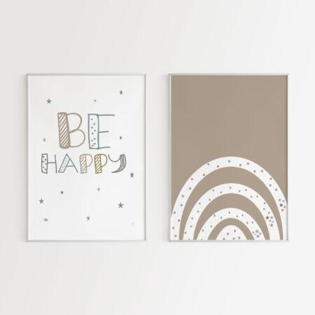 Be Happy & Arcobaleno – Stampa per camera dei bambini