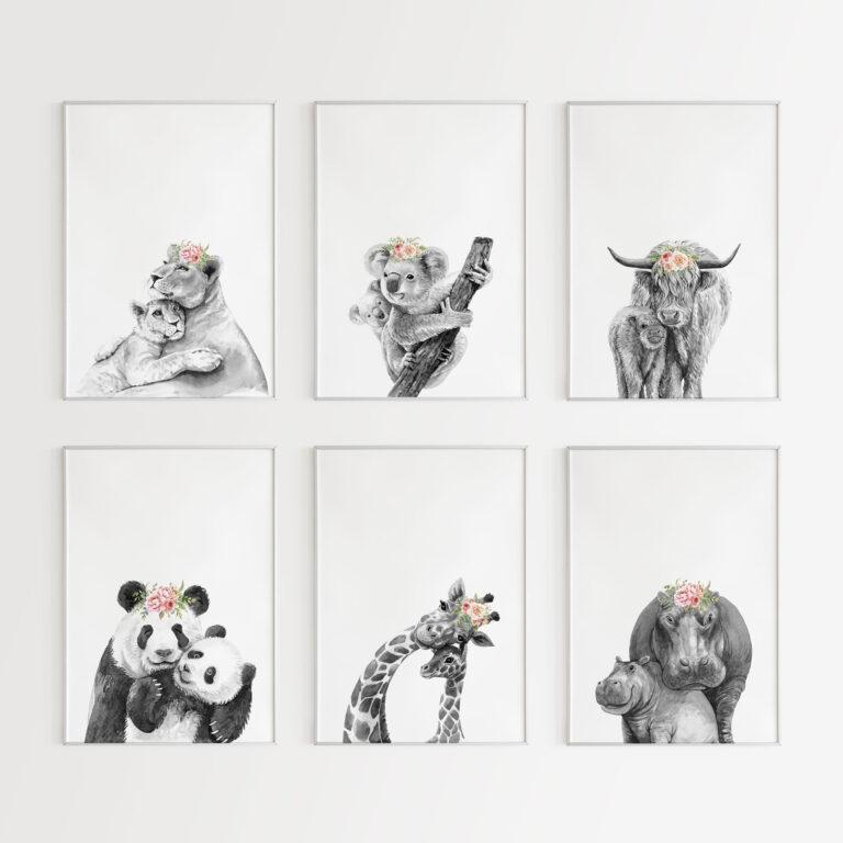 6 stampe animali madre figlio cameretta bambini bianco nero