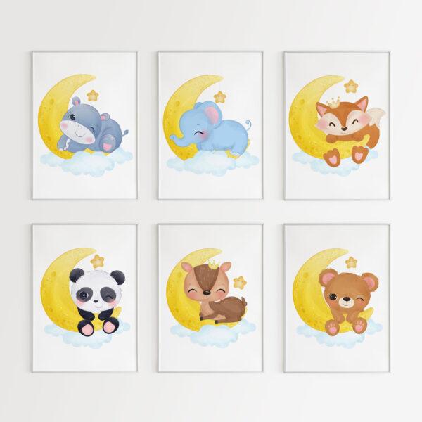 animali carini della buonanotte acquerello stampe per camera dei bambini
