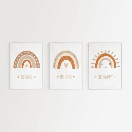 Be Kind, Be Love, Be Happy, Set 3 Stampe per la cameretta dei bambini