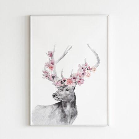 Cervo Floreale – stampa cameretta bambina