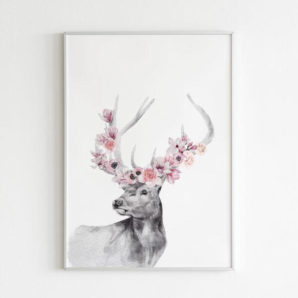 cervo floreale con fiori stampa stanza bambina