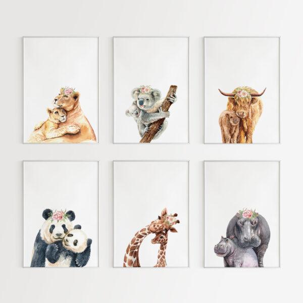collezione animals and son 6 stampe per cameretta dei bambini