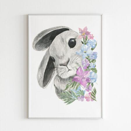 Coniglio e Fiori – stampa cameretta bambina
