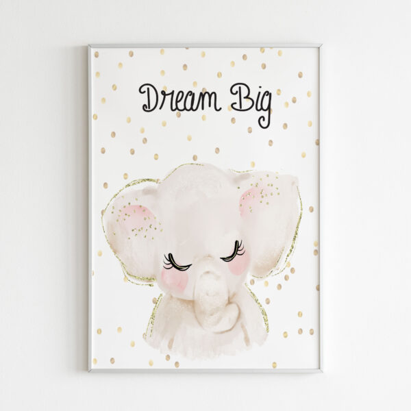 dream big stampa bambini elefante