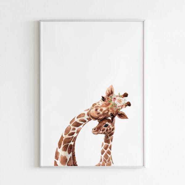 giraffa stampa nursery wall art mother and son