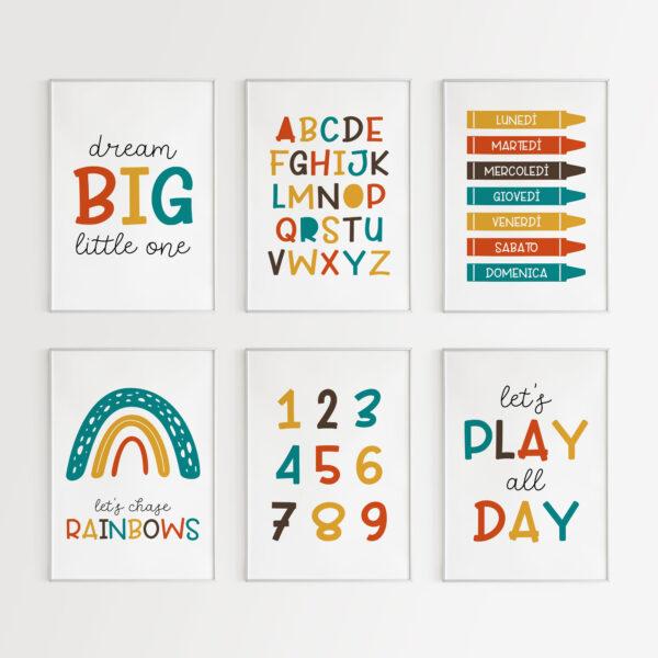 impariamo lettere e numeri stampe poster camera bambini