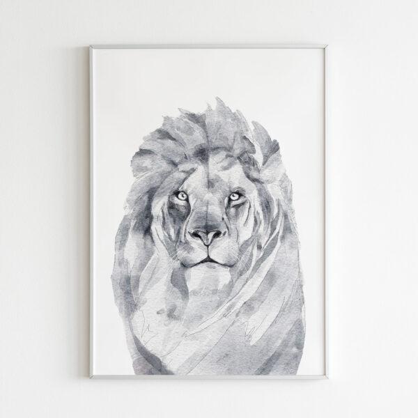 leone animali bianco nero stampa