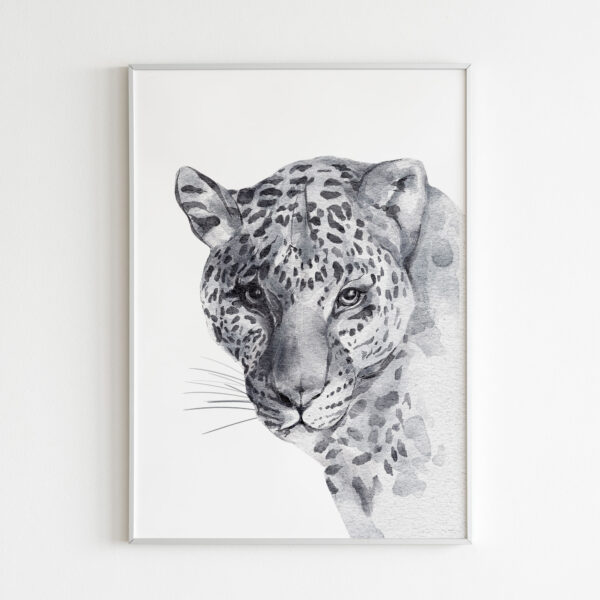 leopardo animali bianco nero stampa