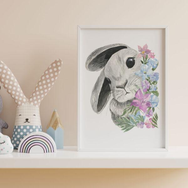 stampa coniglio con fiori per bambina