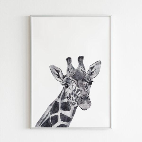 stampa giraffa in bianco e nero