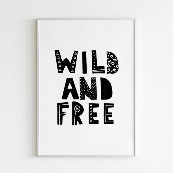 wild and free stampa safari giungla scritta per bambini