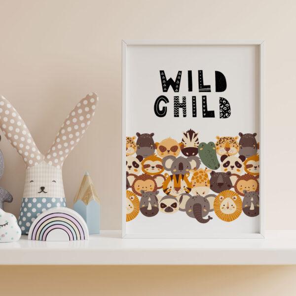 wild child giungla safari animali stampa camera bambini
