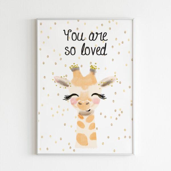 you are so loved stampa bambini giraffa